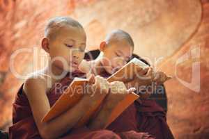 Young Buddhist novice monks reading outside temple