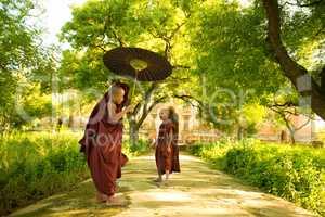 Young Buddhist novice monks