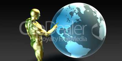 Businessman Pointing at North America