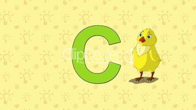 Chicken. English ZOO Alphabet - letter C