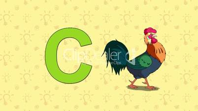 Cock. English ZOO Alphabet - letter C