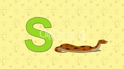 Snake. English ZOO Alphabet - letter S