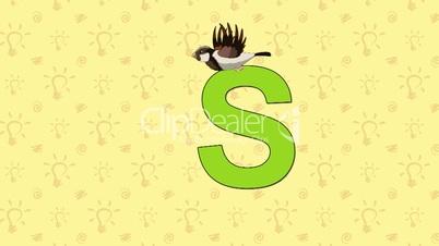 Sparrow. English ZOO Alphabet - letter S