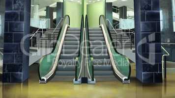 Building entrance with escalator.
