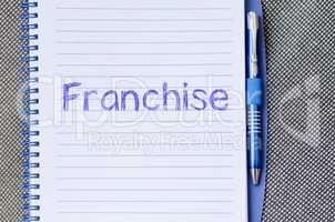 Franchise write on notebook