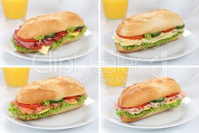 Sammlung von belegte Sandwiches Baguettes zum Frühstück mit Sc