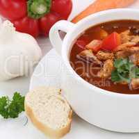 Gesunde Ernährung Gulasch Suppe Gulaschsuppe mit Fleisch und Pa