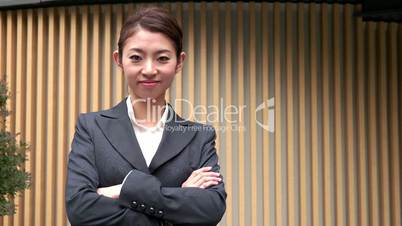 Career Success Happy Asian Japanese Manager Businesswoman Smiling At Camera