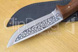 Beautiful hunting knife and a case for the knife.