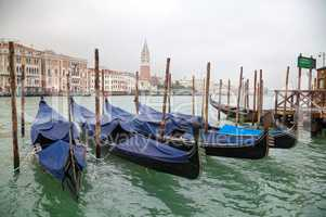 Gondolas floating in Grand Canal