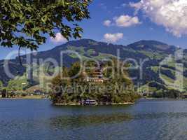 Burgruine castle on Schwanau island in lake Lauerz, Schwyz, Switzerland