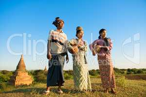 Group Asian Myanmar traditional farmers