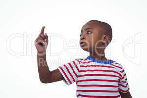 Cute boy shaking finger saying no