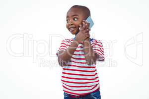 Standing boy on a phone call