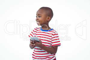 Standing boy holding smartphone