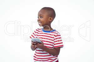 Standing boy holding smartphone