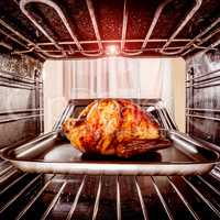 Roast chicken in the oven.