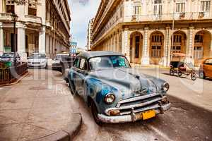 Old vintage car on the streets of Havana on the island of Cuba