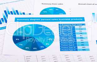 Financial report in the form of graphs on paper