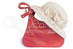 Female summer hat for protection against the sun and a bag on a
