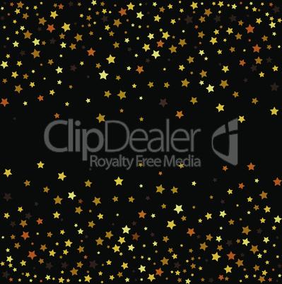 Gold glitter stars on black background. Vector illustration.