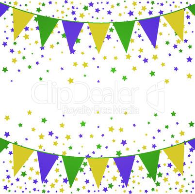 Mardi Gras bunting background with confetti stars.