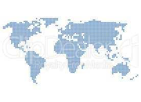 Pixel Weltkarte blau
