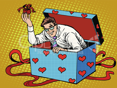 Man Valentine day surprise box love gift