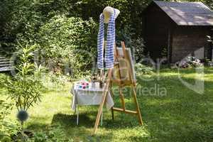 Malerei im Garten, painting in the garden