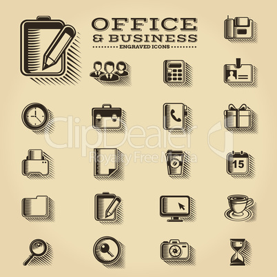 Office and Business engraved icons set