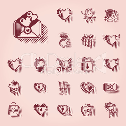 Valentines Day Retro Icon Set