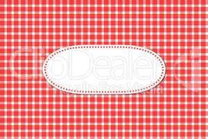 Grußkarte mit Tischdeckenmuster rot weiß