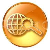 magnifier and globe icon yellow, isolated on white background.