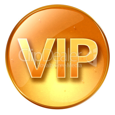 VIP icon yellow, isolated on white background.