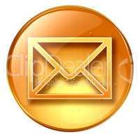postal envelope yellow, isolated on white background
