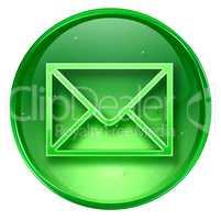 postal envelope icon green, isolated on white background.