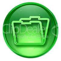 Folder icon green, isolated on white background