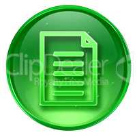 Document icon green, isolated on white background
