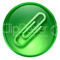 Paper clip icon green, isolated on white background