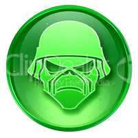 Army button green, isolated on white background