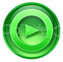 Play icon button green, isolated on white background.