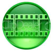 Film icon green, isolated on white background.
