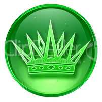 crown icon green, isolated on white background.