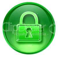 Lock icon green, isolated on white background.