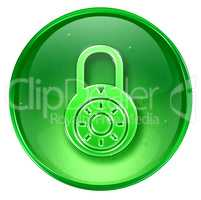 Lock off, icon green, isolated on white background.