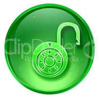 Lock on, icon green, isolated on white background.