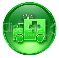 First aid icon green, isolated on white background.
