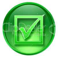 check icon green, isolated on white background.