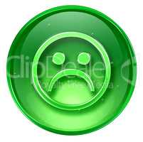 Smiley Face, dissatisfied green, isolated on white background.