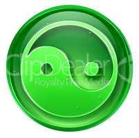 yin yang symbol icon green, isolated on white background.